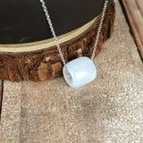 SOLD OUT: A-Grade Type A Natural White Jadeite Jade Barrel Pendant No.170481