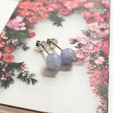 A-Grade Natural Violet Jadeite Sphere (Ball) Earring Stud (18k White Gold and Diamonds) No.180313