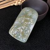 SOLD OUT: A-Grade Type A Natural Jadeite Jade Guan Gong Pendant No.170482