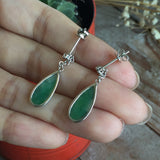 SOLD OUT: A-Grade Type A Green Droplet Jadeite Jade Earrings No.180004