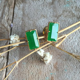 SOLD OUT: Icy A-Grade Type A Emerald Green Jadeite Jade Earrings No.180001
