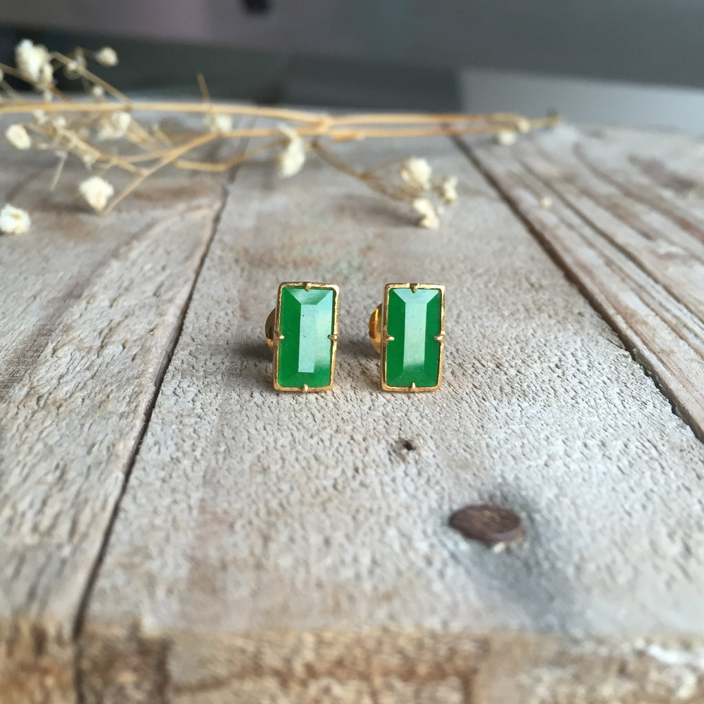 Icy A-Grade Type A Emerald Green Jadeite Jade Earrings No.180001