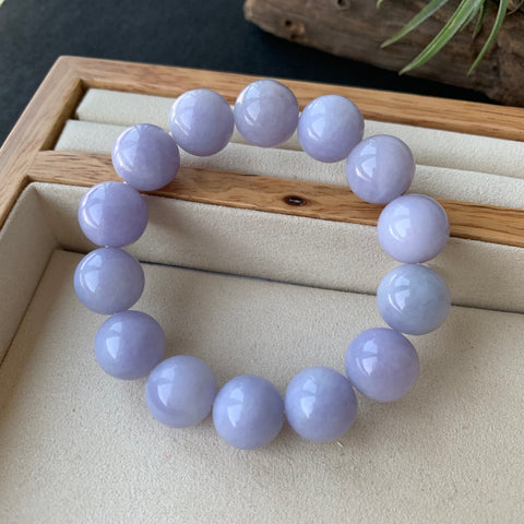 13.8mm A-Grade Natural Lavender Jadeite Beaded Bracelet No.190175