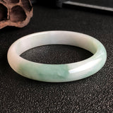 60.7mm A-Grade Type A Natural Floral Jadeite Jade Modern Round Bangle No.220119
