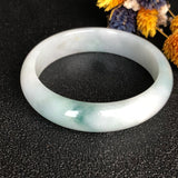 58.7mm A-Grade Type A Natural Floral Jadeite Jade Modern Round Bangle No.220120