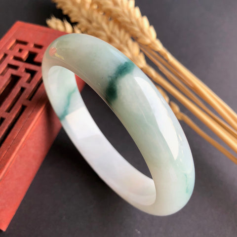 SOLD OUT: 59.7mm A-Grade Type A Natural Floral Jadeite Jade Modern Round Bangle No.220116
