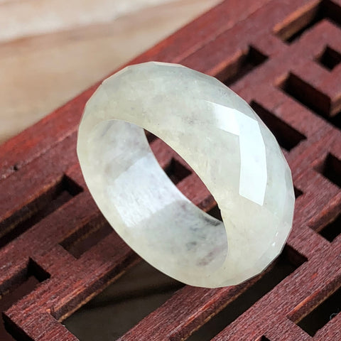 Icy A-Grade Type A Natural White Jadeite Jade Faceted Ring No.161298