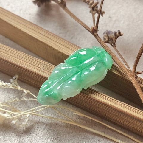 A-Grade Natural Green Jadeite Leaf Pendant No.171268