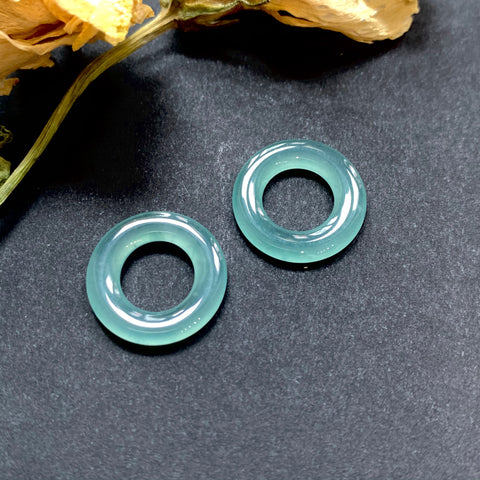 SOLD OUT: A-Grade Natural Blue-Green Jadeite Cylindrical Ring Pair No.171257