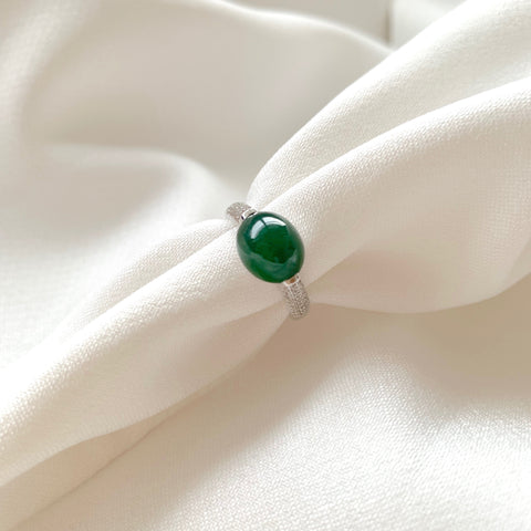 Icy A-Grade Natural Bluish Green Jadeite Oval Cabochon Ring No.161356