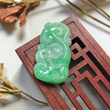 A-Grade Natural Green Jadeite Carving Of Bat & Ruyi Pendant No.220137
