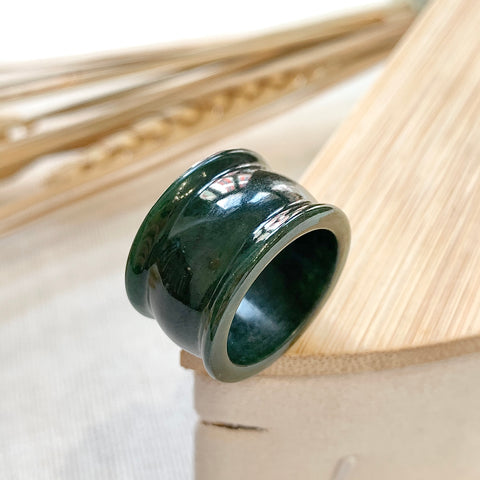 A-Grade Natural Dark Green Jadeite Ring Band No.161223