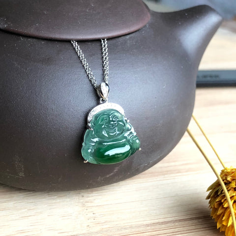 Icy Imperial Green A-Grade Type A Natural Jadeite Jade Mini Buddha Pendant (18k White Gold Bail with Diamonds) No.170489