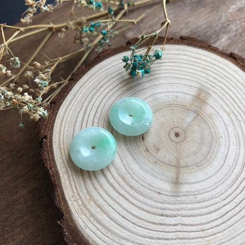 SOLD OUT: A-Grade Type A Natural Jadeite Jade Donut Earrings Pair No.180026