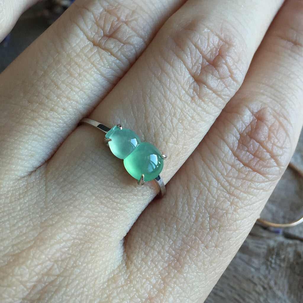 SOLD OUT: Icy A-Grade Type A Jadeite Jade Calabash Ring No.161204