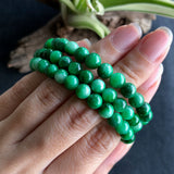 SOLD OUT: 6~7.2mm  A-Grade Type A Natural Floral Imperial Green Jadeite Jade Beaded Bracelet/ Necklace No.190101