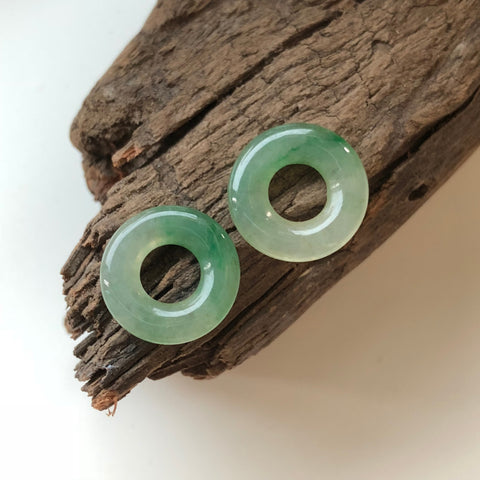 Icy A-Grade Type A Natural Green Jadeite Jade Ring Earrings Pair No.190078