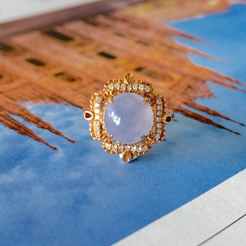 A-Grade Natural Bluish Lavender Jadeite Cabochon Bespoke Ring (18k Rose Gold and Diamonds) No.161356
