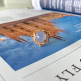 A-Grade Natural Bluish Lavender Jadeite Cabochon Bespoke Ring (18k Rose Gold and Diamonds) No.161425