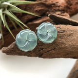 Icy A-Grade Type A Natural Bluish Green Jadeite Jade Hibiscus Earrings Pair No.180090