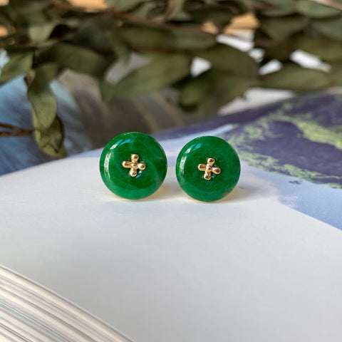 A-Grade Natural Imperial Green Jadeite Donut Earring Stud (18k Champagne Gold) No.180152