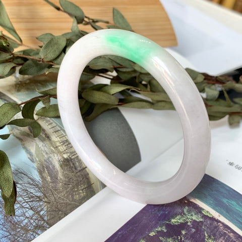 50.5mm A-Grade Jadeite Moss On Snow Traditional Round Bangle No.151702