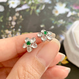 Highly Icy A-Grade Natural Jadeite Flower Earring Stud (18k White Gold and Diamonds) No.180320