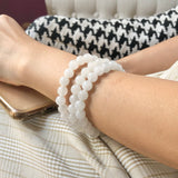 8.4mm A-Grade Natural White Jadeite Beaded Bracelet No.190211
