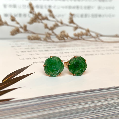 A-Grade Natural Imperial Green Jadeite Rose Earring Stud No.180070