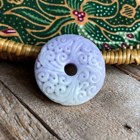 A-Grade Type A Natural Lavender Green Jadeite Jade Donut Pendant with Clouds Carvings No.170497