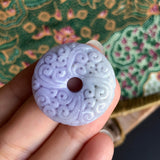 SOLD OUT: A-Grade Type A Natural Lavender Green Jadeite Jade Donut Pendant with Clouds Carvings No.170497
