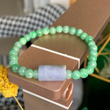 5.5mm A-Grade Type A Natural Jadeite Jade Beaded Bracelet with Purple Barrel No.190102