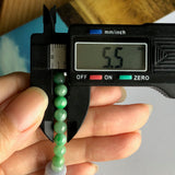 SOLD OUT: 5.5mm A-Grade Type A Natural Jadeite Jade Beaded Bracelet with Purple Barrel No.190103