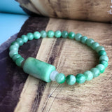 5.5mm A-Grade Type A Natural Jadeite Jade Beaded Bracelet with Green Barrel No.190104