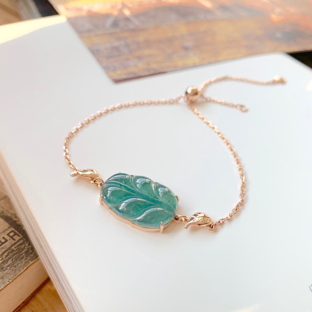 Icy A-Grade Natural Bluish Green Jadeite Bespoke Leaf Bracelet (18k Rose Gold) No.190177