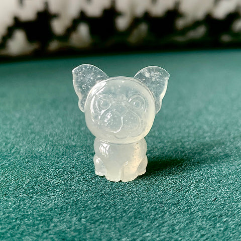 Icy A-Grade Natural Jadeite French Bulldog Carving Pendant No.171535