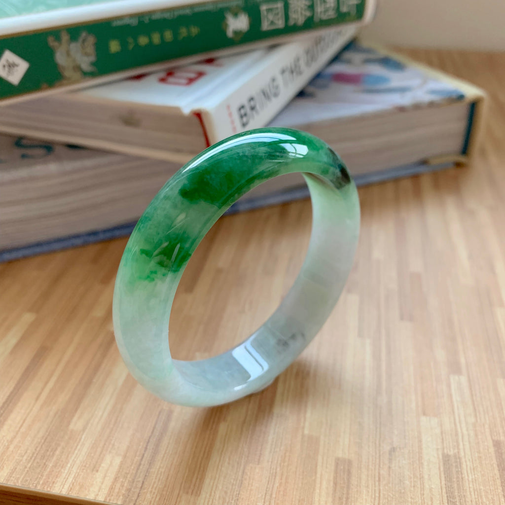 53.5mm A-Grade Natural Imperial Green Jadeite Modern Round Bangle No.151647