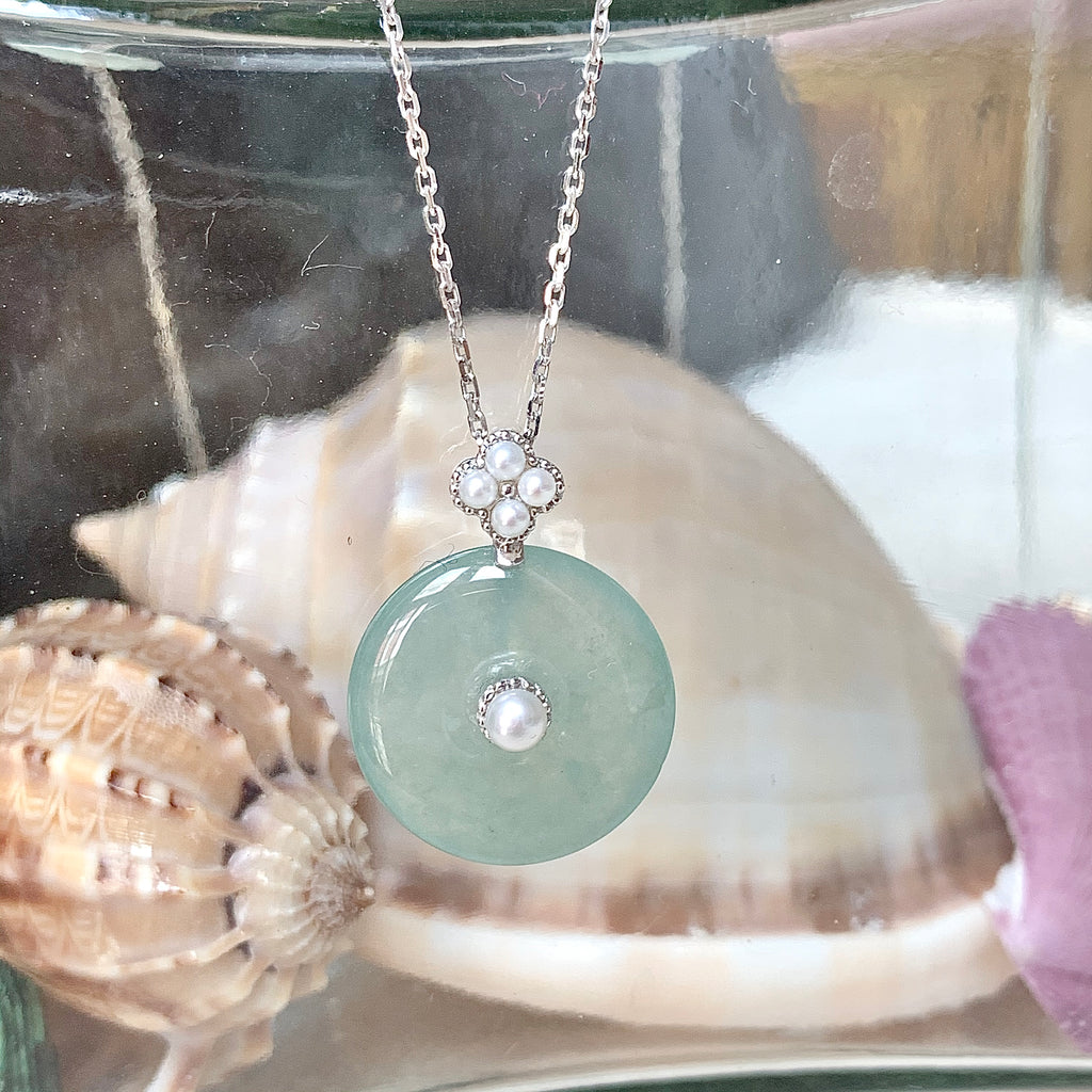 A-Grade Natural Bespoke Jadeite Donut Pendant With Pearls (18K White Gold) No.171277