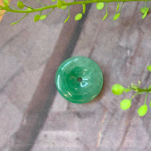 A-Grade Natural Imperial Green Jadeite Donut Pendant No.170680