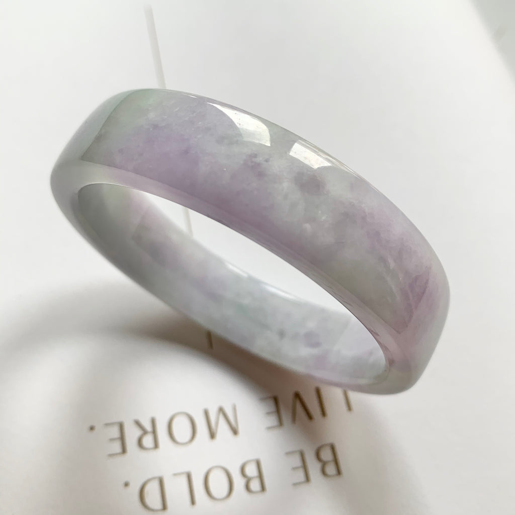 SOLD OUT: 52.4mm A-Grade Natural Jadeite Modern Round Bangle (Right-Angle) No.151707