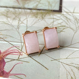 A-Grade Natural Lavender Jadeite Stud Earring (18k Rose Gold) No.180129