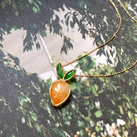 SOLD OUT: A-Grade Natural Orange Green Jadeite Bespoke Pendant (Carrot) (18k Champagne Gold) No.220506