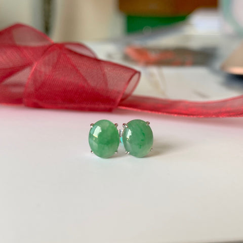 A-Grade Natural Green Jadeite Stud Earring (18k White Gold) No.180130