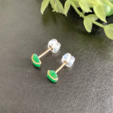 A-Grade Natural Imperial Green Jadeite Calabash Earring Stud (18k Gold) No.180332