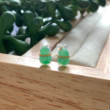 A-Grade Natural Imperial Green Jadeite Calabash Earring Stud (18k Gold) No.180333