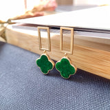 A-Grade Natural Green Bespoke Jadeite Dangling Earring (18K Champagne Gold) No.180163