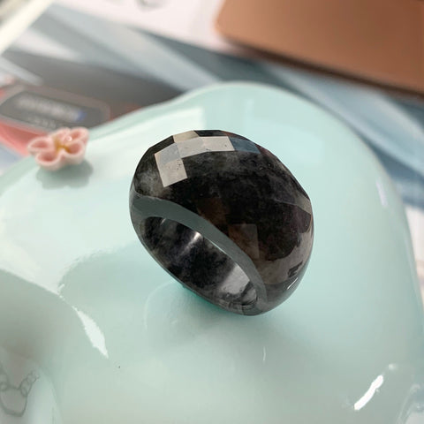 A-Grade Natural Black Jadeite Saddle Faceted Ring No.220403