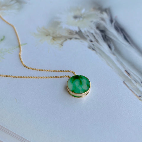 A-Grade Natural Moss on Snow Jadeite Bespoke Pendant (18k Champagne Gold) No.170684