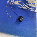 A-Grade Natural Black Jadeite Barrel Pendant No.220346