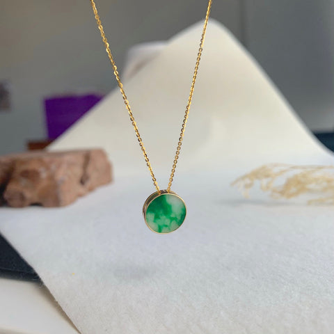 A-Grade Natural Moss on Snow Jadeite Bespoke Pendant (18k Champagne Gold) No.170686